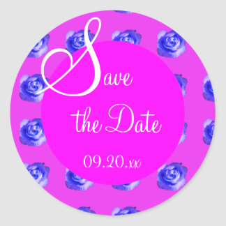 "Pink & Purple Rose ""Save the Date"" Classic Round Sticker"