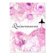 Pink & Purple Roses Dress Quinceanera Invite