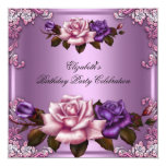 Pink Purple Roses Elegant Birthday Party Invitation