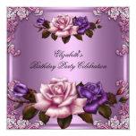 "Pink Purple Roses Elegant Birthday Party 5.25"" Square Invitation Card"
