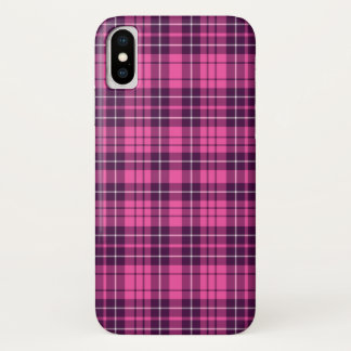 Pink Purple Scottish Tartan Plaid Pattern iPhone X Case