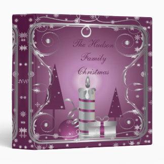 Pink Purple Silver Christmas Photo Album 3 Ring Binders
