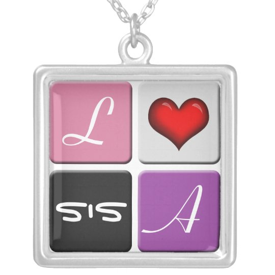 Pink & Purple SIS Sisters Necklace