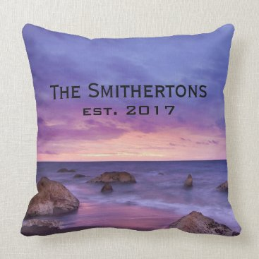Beach Themed Pink Purple Skies Rocky Beach Sunset Family Name Throw Pillow