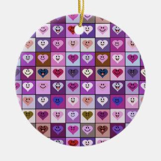 Pink & Purple Smiley Heart Squares Ceramic Ornament