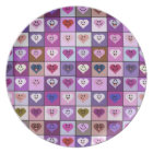 Pink & Purple Smiley Heart Squares Dinner Plate