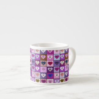 Pink & Purple Smiley Heart Squares Espresso Cup