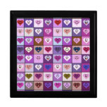 Pink & Purple Smiley Heart Squares Keepsake Boxes