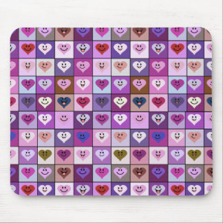 Pink & Purple Smiley Heart Squares Mouse Pad