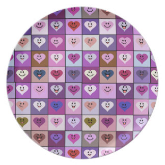 Pink & Purple Smiley Heart Squares Plates