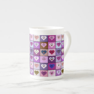 Pink & Purple Smiley Heart Squares Tea Cup
