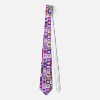 Pink & Purple Smiley Heart Squares Tie