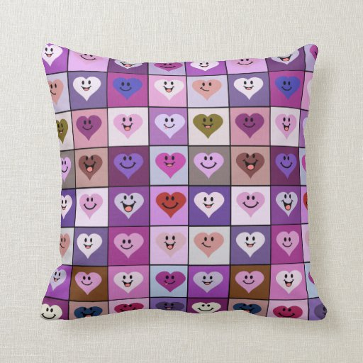 Pink  & Purple Smiley Heart tiles Pillows