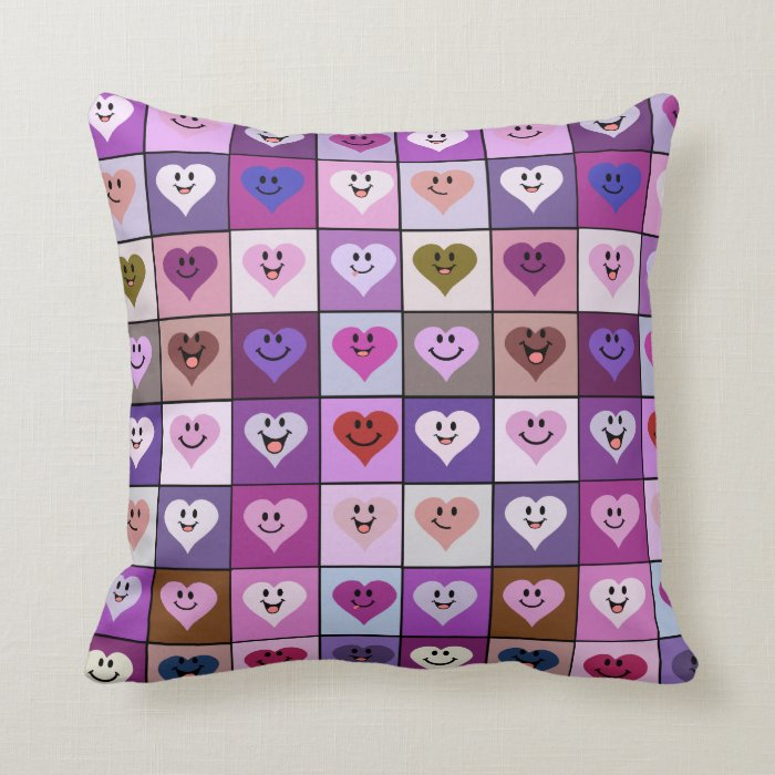 Pink  & Purple Smiley Heart tiles Throw Pillow