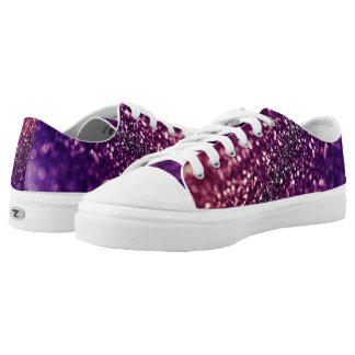 Pink & Purple Sparkling Gold Glitter Low-Top Sneakers