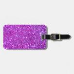 Pink Purple Sparkly Glam Glitter Designer Bag Tag