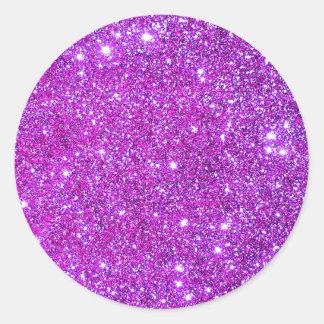 Pink Purple Sparkly Glam Glitter Designer Classic Round Sticker