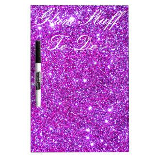 Pink Purple Sparkly Glam Glitter Designer Dry Erase Board