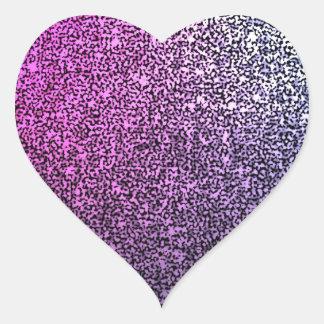 Pink purple sparkly glitter heart sticker