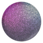 Pink purple sparkly glitter plate