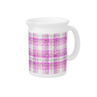 Pink & Purple Sparkly Plaid Beverage Pitcher