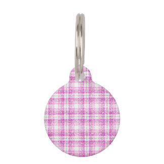 Pink & Purple Sparkly Plaid Pet Name Tag