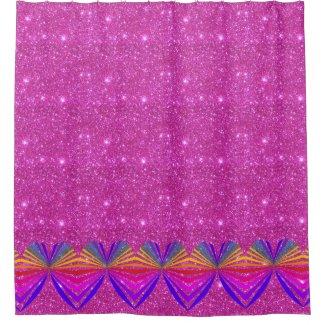 Pink Purple Sparkly Sparkling Glittery Bath Decor Shower Curtain