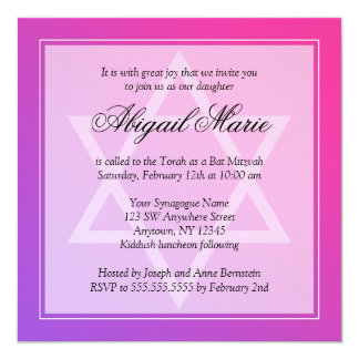 Pink Purple Star of David Bat Mitzvah Square Card
