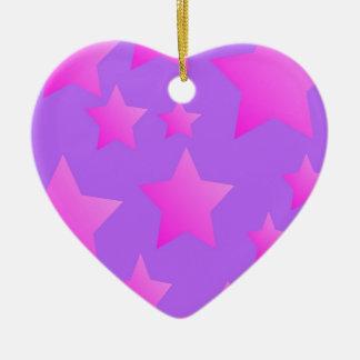 Pink/Purple Star Pattern Ceramic Ornament