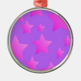Pink/Purple Star Pattern Metal Ornament
