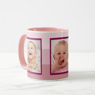 Pink Purple Striped Mother's Day Photo Mug