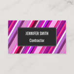[ Thumbnail: Pink, Purple Stripes Pattern Business Card ]