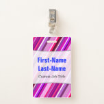[ Thumbnail: Pink, Purple Stripes Pattern; Personalized Name Badge ]