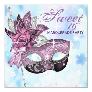 Pink Purple Sweet 16 Masquerade Party Card
