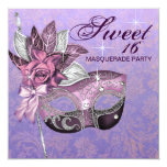 Pink Purple Sweet 16 Masquerade Party Personalized Invites
