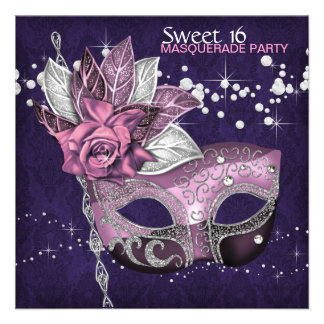 Pink Purple Sweet 16 Masquerade Party Personalized Invitation