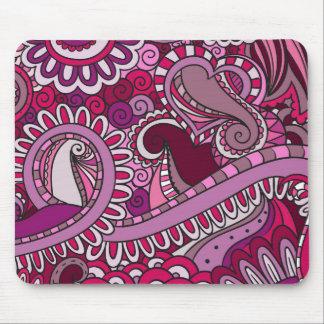 Pink purple swirls and curls pattern illustration mouse pad
