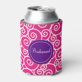 Pink Purple Swirls Personalized Can Cooler