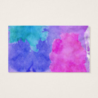 Pink, Purple, Teal, and Blue Watercolor Smudges Business Card