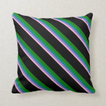 [ Thumbnail: Pink, Purple, Teal, Green & Black Colored Lines Throw Pillow ]