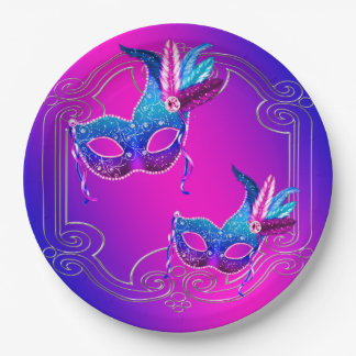 Pink Purple Teal Masquerade Paper Plate