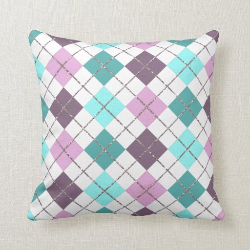 Pink Purple Teal Turquoise Chic Plaid Pattern Throw Pillow