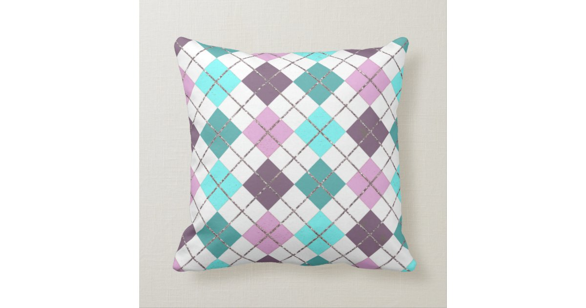 Pink Purple Teal Turquoise Chic Plaid Pattern Throw Pillow Zazzle