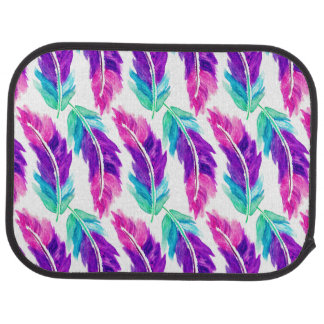 Pink purple teal watercolor feathers pattern car mat