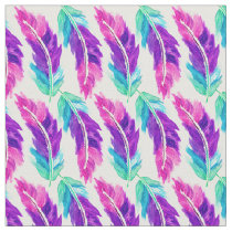 Pink purple teal watercolor feathers pattern fabric