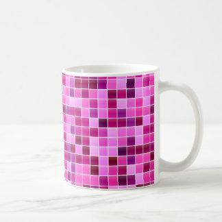 Pink Purple Tiled Mosaic Squares Pattern Coffee Mug