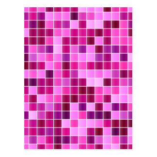 Pink Purple Tiled Mosaic Squares Pattern Postcard