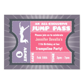 "Pink & Purple Trampoline Jump Pass Invitation 4.5"" X 6.25"" Invitation Card"