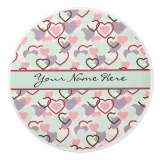Pink Purple Turquoise Red and Black Hearts Ceramic Knob