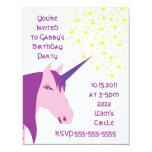 "Pink/Purple Unicorn Birthday Invitation 4.25"" X 5.5"" Invitation Card"